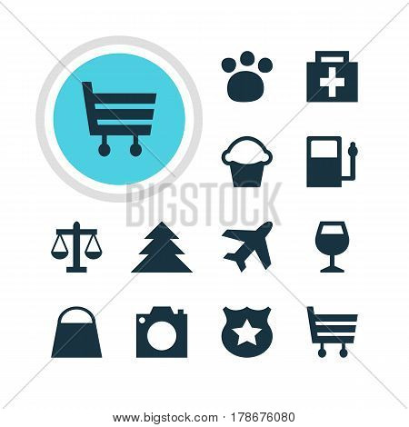 Vector Illustration Of 12 Location Icons. Editable Pack Of Cop , Pet Shop, Handbag Elements.