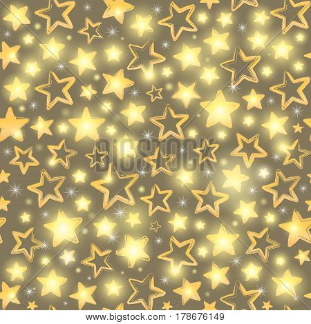 Seamless pattern with gold stars. Beautiful greeting background. Wrapping paper. Vector illustration