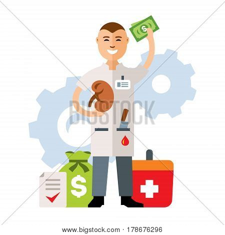 Kidney with surgeon. Isolated on a white background