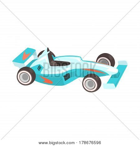 Blue Sportive Formula One Car, Racing Related Objects Part Of Racer Attribute Illustration Set. Vector Cartoon Isolated Items Associated With Speed Race Sport