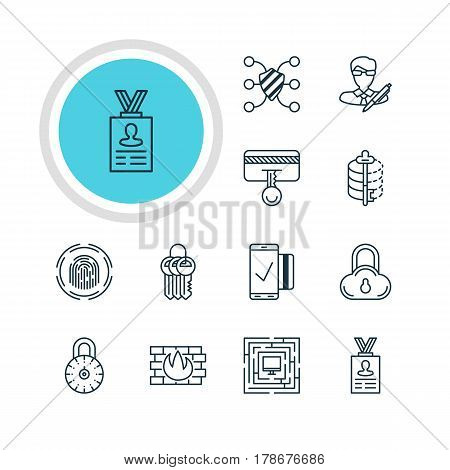 Vector Illustration Of 12 Data Icons. Editable Pack Of Easy Payment, Network Protection, Finger Identifier And Other Elements.