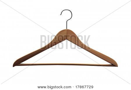Wooden coat hanger isolated with whith background