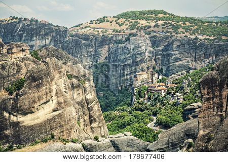 Panoramic view of Meteora monasteries on the rocks of volcanic origin. Greece.