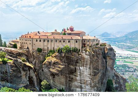 View of Holy Monastery of St Stephen (Agios Stefanos). Meteora monasteries Greece.