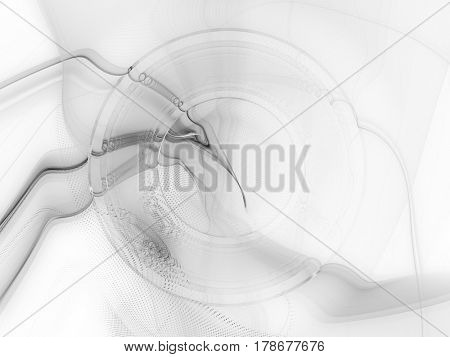 Abstract background. Composition of halftone effect, liquid blur waves and concentric circles. White texture.