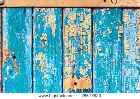 Green Wooden Texture from Board with Structure and Chink, Old Paint, Cracks.