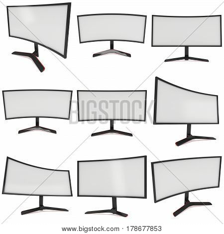 Black Curved LCD tv screen set. 3d render isolated on white.