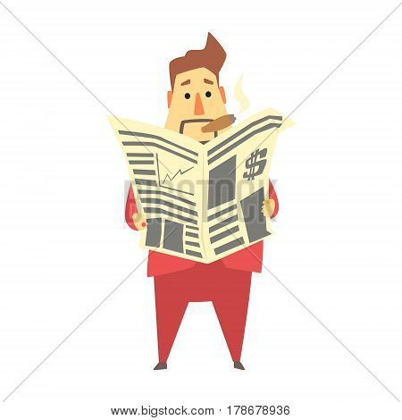 Millionaire Rich Man Reading Financial News In Newspaper , Funny Cartoon Character Lifestyle Situation. Multimillionaire Businessman With Goatee In Red Suit Activity Vector Illustration.