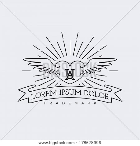 Template for logo, label and emblem in outline style with heart wings and rays. Vector illustration.