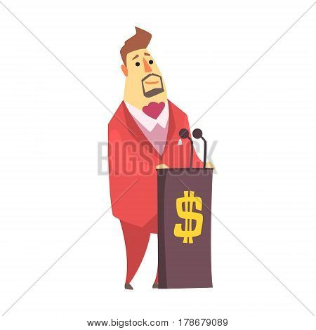 Millionaire Rich Man On The Tribune Debating On Financial Conference , Funny Cartoon Character Lifestyle Situation. Multimillionaire Businessman With Goatee In Red Suit Activity Vector Illustration.