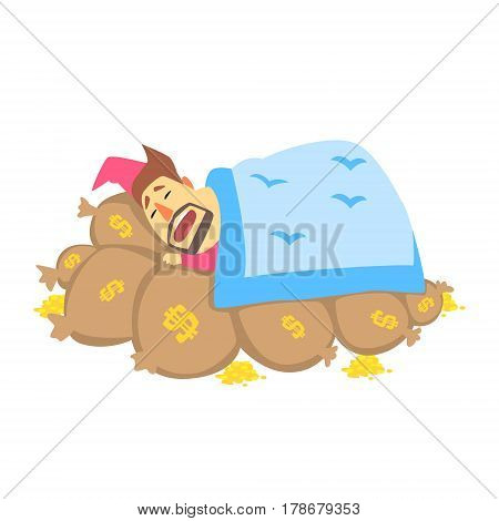 Millionaire Rich Man Using Bags With Money As Bed To Sleep, Funny Cartoon Character Lifestyle Situation. Multimillionaire Businessman With Goatee In Red Suit Activity Vector Illustration.