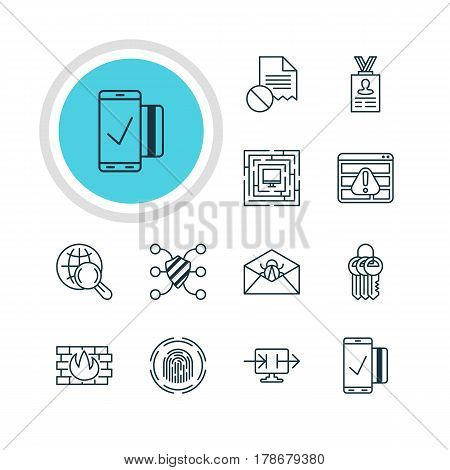 Vector Illustration Of 12 Data Icons. Editable Pack Of Data Error, Finger Identifier, Account Data And Other Elements.