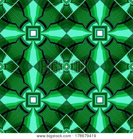 Green symmetry geometric decorative pattern from  crystal   square