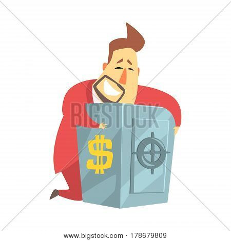 Millionaire Rich Man Hugging His Metal Safe Money Box , Funny Cartoon Character Lifestyle Situation. Multimillionaire Businessman With Goatee In Red Suit Activity Vector Illustration.