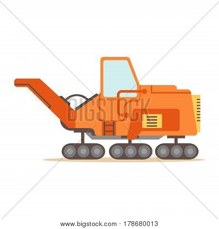 Orange Gravel Spreading Graver Machine , Part Of Roadworks And Construction Site Series Of Vector Illustrations. Flat Cartoon Drawings With Professional City Streets Maintenance Scenes .