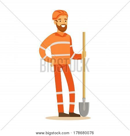 Road Worker In Orange Uniform With Shovel , Part Of Roadworks And Construction Site Series Of Vector Illustrations . Flat Cartoon Drawings With Professional City Streets Maintenance Scenes .