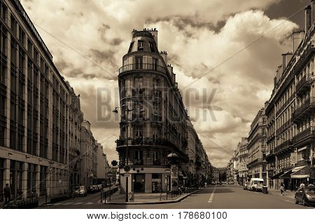 PARIS, FRANCE - MAY 13: street view on May 13, 2015 in Paris. With the population of 2M, Paris is the capital and most-populous city of France