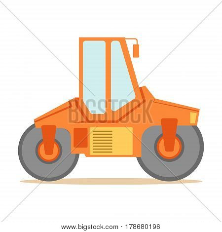 Small Orange Paver Machine , Part Of Roadworks And Construction Site Series Of Vector Illustrations. Flat Cartoon Drawings With Professional City Streets Maintenance Scenes .