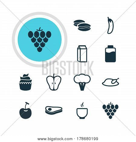 Vector Illustration Of 12 Dish Icons. Editable Pack Of Aubergine, Berry Type, Dessert And Other Elements.