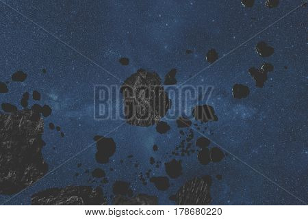 Asteroids and meteors in the Milky Way. 3D render / illustration.