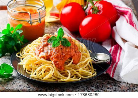 Spaghettini with Rosy-red Sauce . selective focus