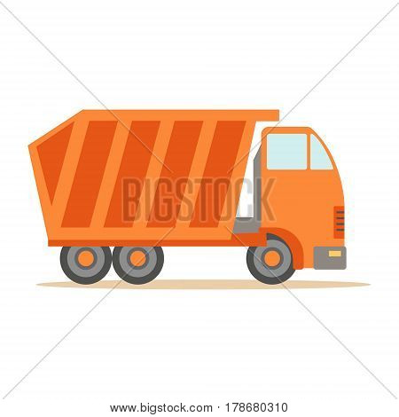 Big Heavy Orange Truck , Part Of Roadworks And Construction Site Series Of Vector Illustrations. Flat Cartoon Drawings With Professional City Streets Maintenance Scenes .