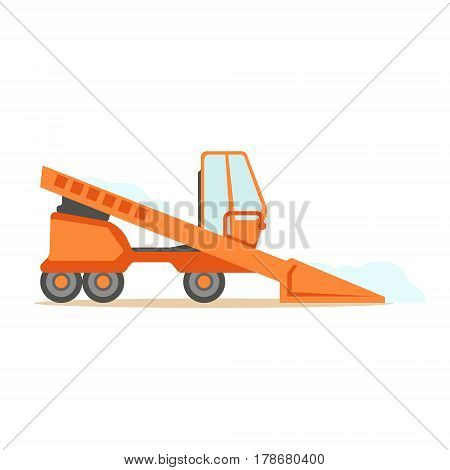Grader Orange Machine On Six Wheels , Part Of Roadworks And Construction Site Series Of Vector Illustrations. Flat Cartoon Drawings With Professional City Streets Maintenance Scenes .