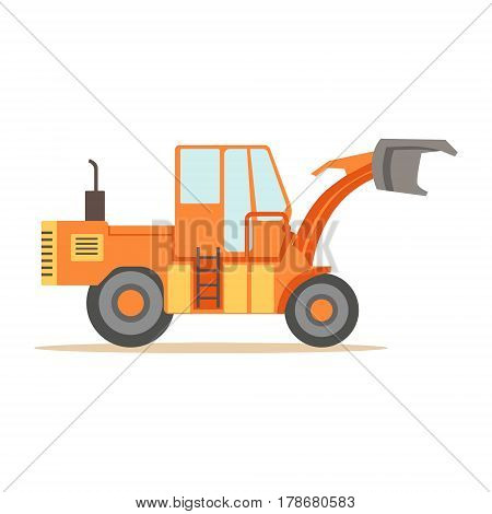 Road Digger Truck Machine , Part Of Roadworks And Construction Site Series Of Vector Illustrations. Flat Cartoon Drawings With Professional City Streets Maintenance Scenes .