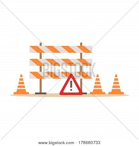 Road Cones And Barriers Signalling Tools , Part Of Roadworks And Construction Site Series Of Vector Illustrations. Flat Cartoon Drawings With Professional City Streets Maintenance Scenes .