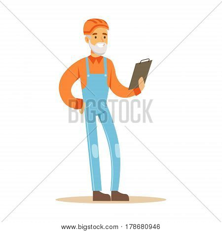Old Road Worker With Clipboard , Part Of Roadworks And Construction Site Series Of Vector Illustrations. Flat Cartoon Drawings With Professional City Streets Maintenance Scenes .