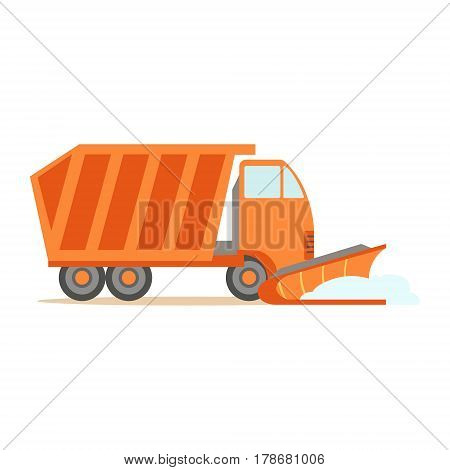 Heavy Truck With Empty Trailer , Part Of Roadworks And Construction Site Series Of Vector Illustrations. Flat Cartoon Drawings With Professional City Streets Maintenance Scenes .