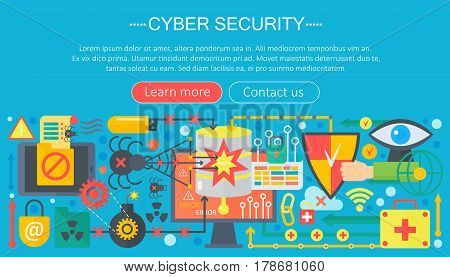 Online communication security, computer protection, cuber secutity infographics template design, web header elements, poster banners, Vector illustration