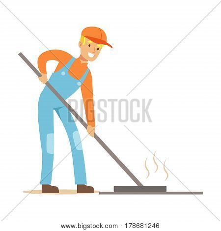 Road Worker Levelling Asphalt With Rake , Part Of Roadworks And Construction Site Series Of Vector Illustrations. Flat Cartoon Drawings With Professional City Streets Maintenance Scenes .