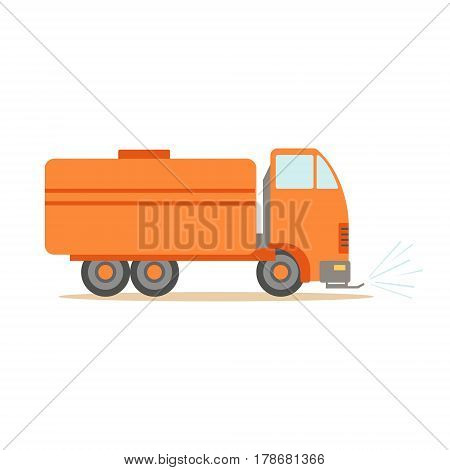 Gas Carrier Orange Truck , Part Of Roadworks And Construction Site Series Of Vector Illustrations. Flat Cartoon Drawings With Professional City Streets Maintenance Scenes .