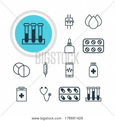 Vector Illustration Of 12 Medicine Icons. Editable Pack Of Trickle, Medicine, Round Tablet And Other Elements.