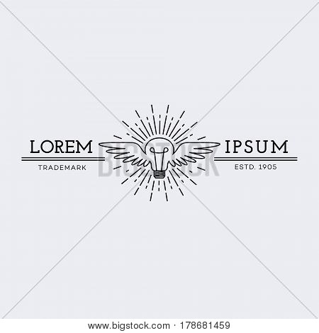 Template for logo, label and emblem in outline style with lightbulb wings and rays. Vector illustration.
