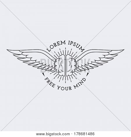 Template for logo, label and emblem in outline style with brain and wings. Vector illustration.