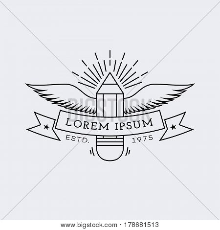 Template for logo, label and emblem in outline style with pencil wings and rays. Vector illustration.