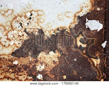 Corroded White Metal Background. Rusted White Painted Metal Wall. Rusty Metal Background With Streak