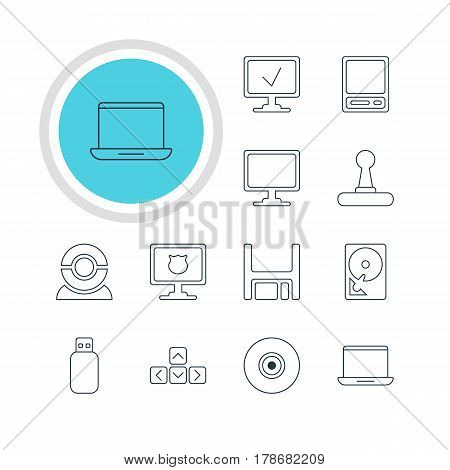 Vector Illustration Of 12 Notebook Icons. Editable Pack Of Screen, Hard Drive Disk, Game Controller And Other Elements.