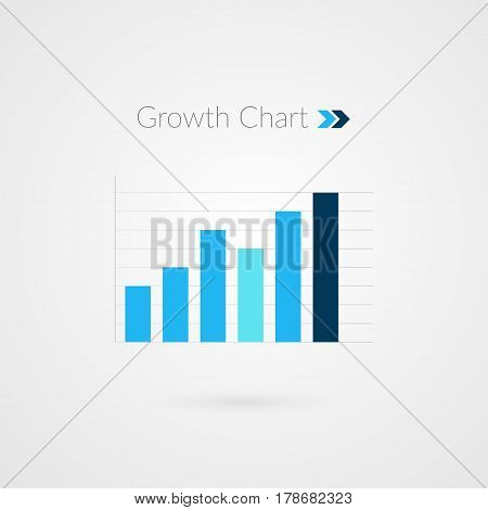 Graphic of growth isolated. Infographic bar chart symbol. Business vector illustration