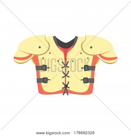 Chest And Shoulders Protective Armor Pads, Part Of American Football Related Isolated Objects Series Of Sportive Illustrations. Rugby Sport Element Or Inventory Flat Vector Icon.