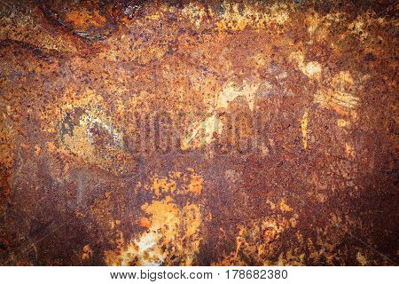 Rusty metal texture, rusty metal background. Grunge retro vintage of rusty metal plate for design with copy space for text or image. Dark edged.