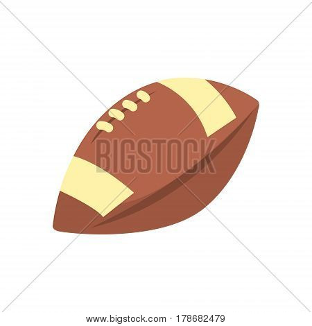 Specific Shape Leather Ball, Part Of American Football Related Isolated Objects Series Of Sportive Illustrations. Rugby Sport Element Or Inventory Flat Vector Icon.