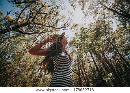 Woman looking at the trees in an eucalyptus forest in Australia.