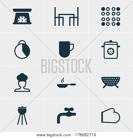 Vector Illustration Of 12 Cooking Icons. Editable Pack Of Measuring Tool, Sieve, Timekeeper And Other Elements.