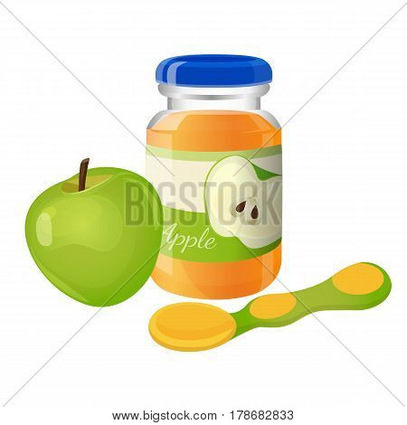 Glass jar of orange puree with tea spoon and green apple isolated on white. Vector illustration of natural baby porridge food from apple in special dish with cover and yellow-green spoon near