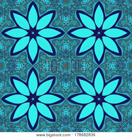 Digitally created fractal image in tileable seamless repeat pattern. Tiles in shades of blue with intricate detail and flower or star shape