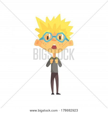 Blond Boy With Spiky Hair And Glasses Surprised, Primary School Kid, Elementary Class Member, Isolated Young Student Character. Elementary School Scholar On School Trip Flat Cartoon Illustration With Child.