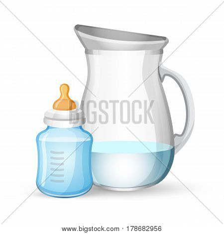 Baby milk bottle and jug with liquid set isolated on white. Baby bottle with nipple on top for newborns feeding and dish near for pouring milk or water. Vector illustration of baby drinking bowls